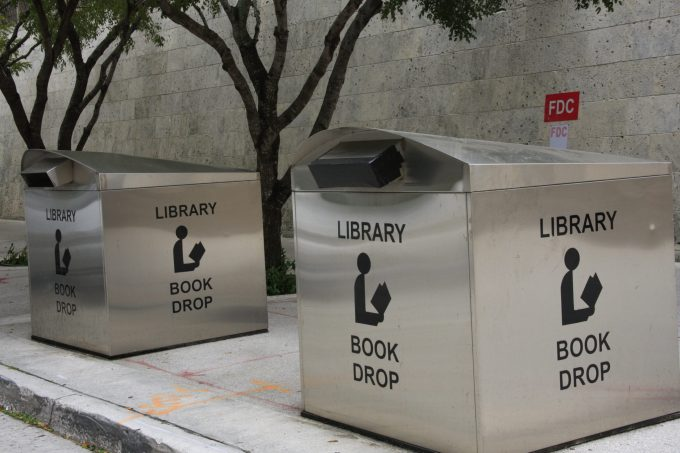 Book drop outside of the MDPL Downtown branch.