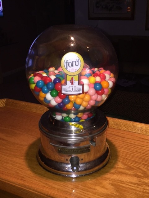 A 1940s Ford gumball machine Deutch bought at an estate sale. (Courtesy of Richard Deutch)