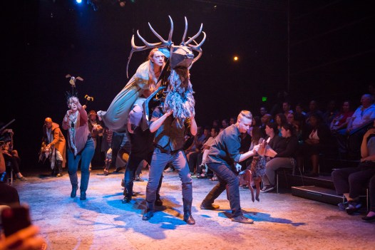 July (Kay Kron) and all the animals of the Land (puppets by Jesse Mooney-Bullock) race to defend King Casper. (Photo Courtesy of Justin Namon, ra-haus)