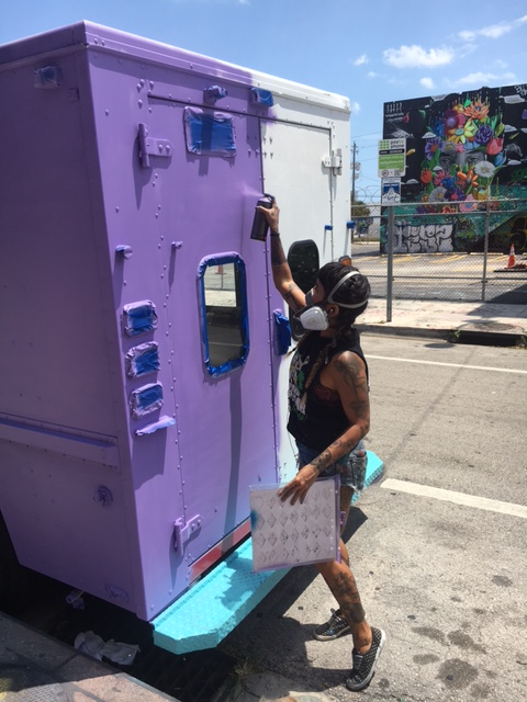 Artist Nicole Salazar painting The Wynwood Parlor truck (Courtesy of Wynwood Parlor)