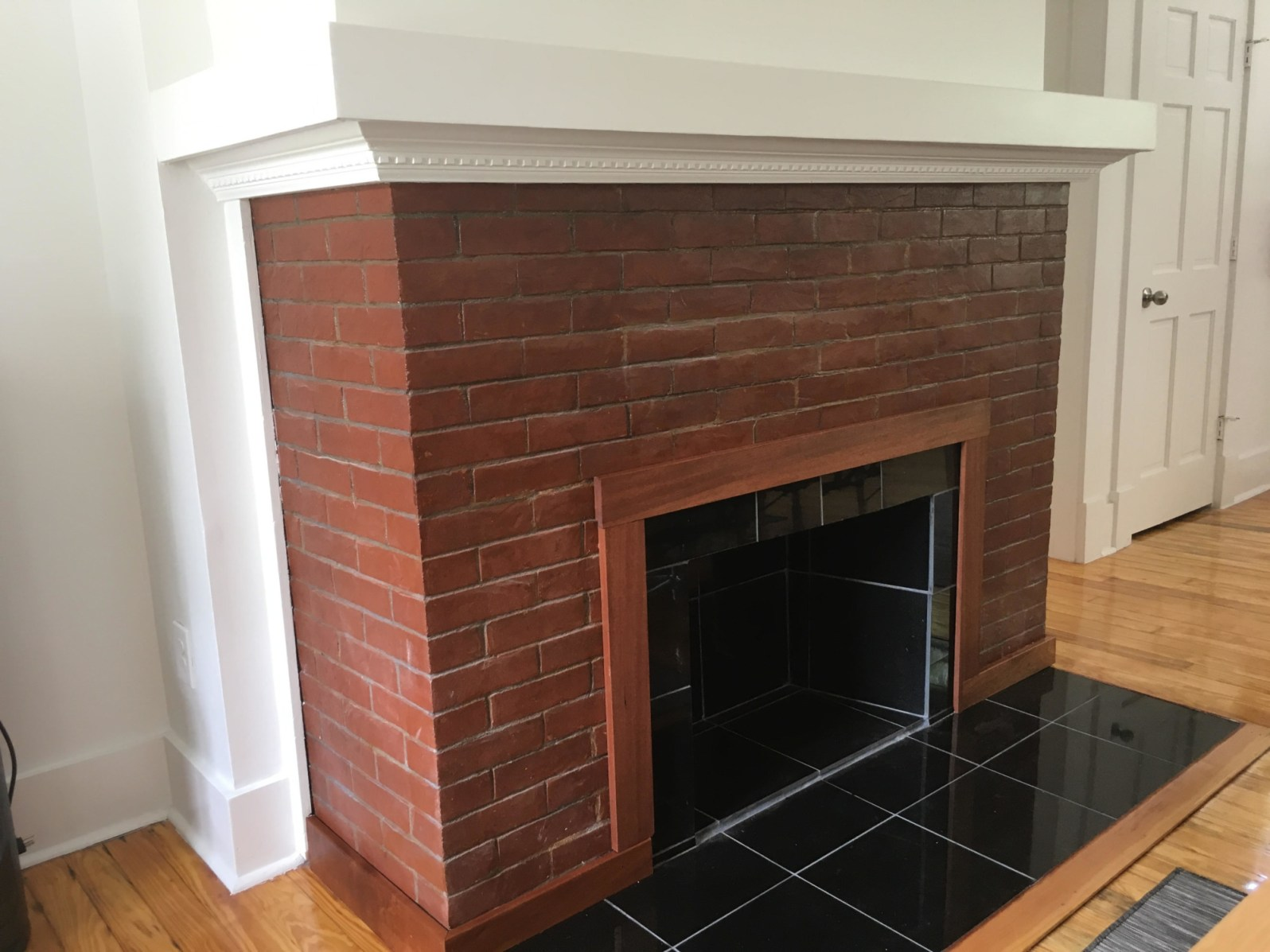 The red brick fireplace discovered by construction workers (Courtesy of River Inn Miami)