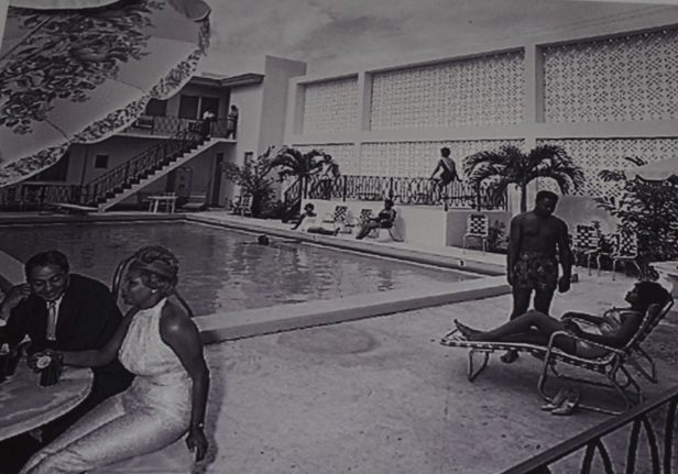 Guests lounging by the pool at the The Hampton House in the 1960s (Courtesy of the Hampton House)