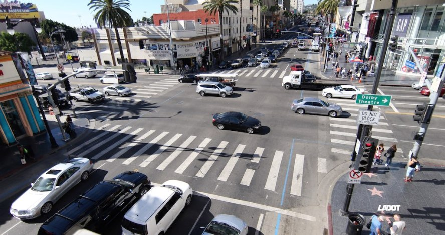 Hollywood and Highland before the scramble crosswalk. (Courtesy of LADOT Official)