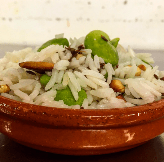 Basmati rice with fava beans, cashews, toasted cumin and of course ghee!(Courtesy of Niven Patel)