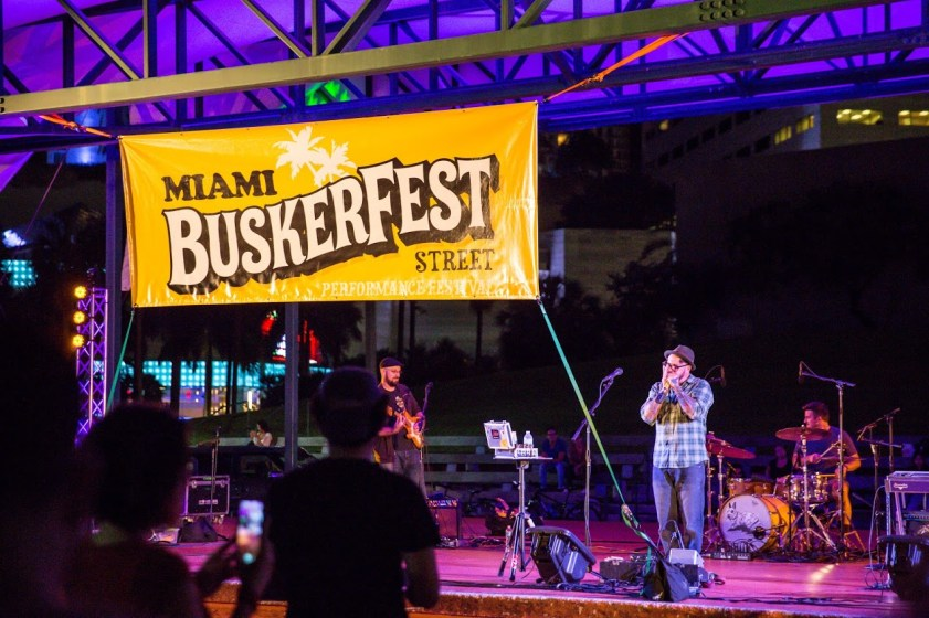 Performers jam at Buskextravaganza for Buskerfest Miami 2015.