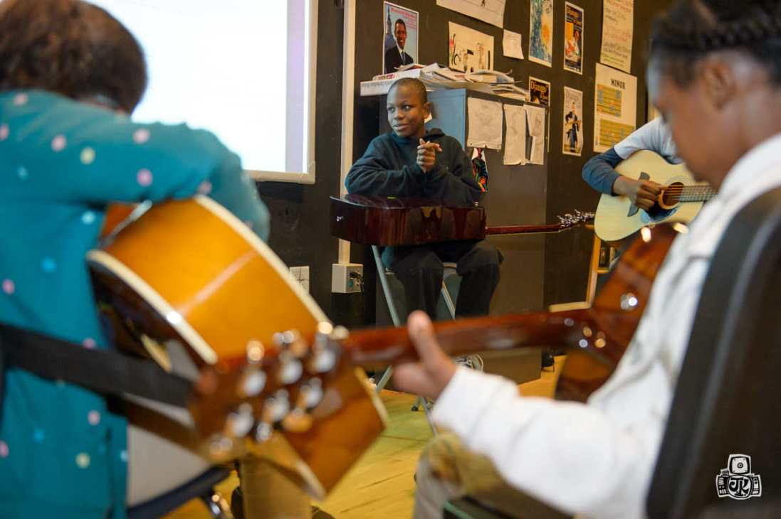 A Guitars over Guns school session in January 2015 (Photo courtesy of Jason Koerner)