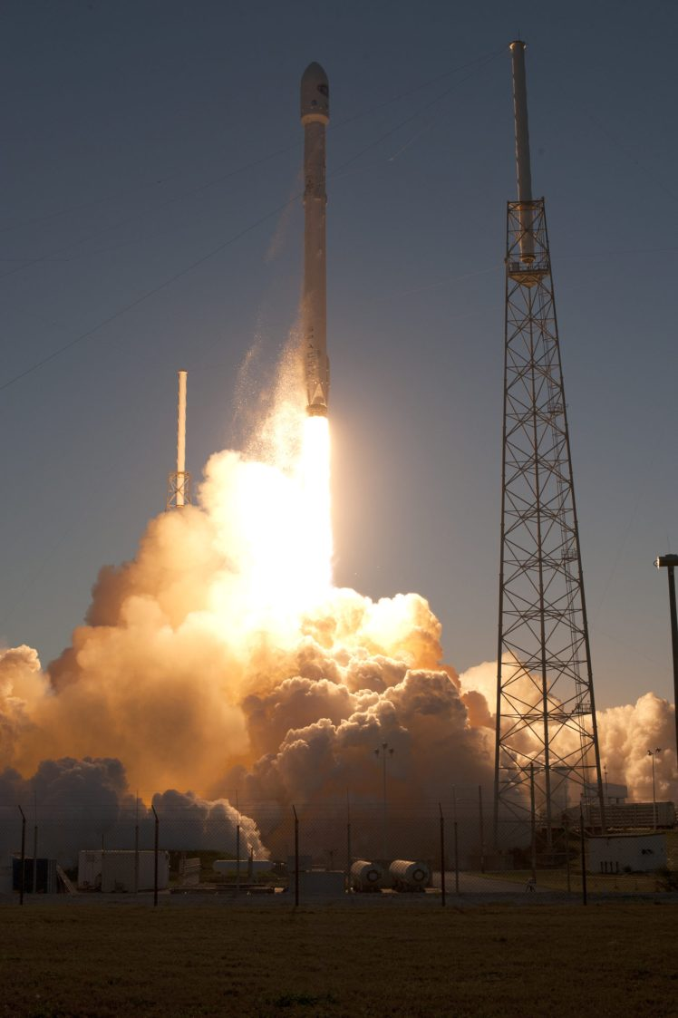 NOAA's Deep Space Climate Observatory spacecraft, or DSCOVR, is boosted into space aboard the SpaceX Falcon 9 rocket. Liftoff from Space Launch Complex 40 at Cape Canaveral Air Force Station in Florida occurred at 6:03 p.m. EST. DSCOVR is a partnership between NOAA, NASA and the U.S. Air Force, and will maintain the nation's real-time solar wind monitoring capabilities. (Photo credit: NASA/Tony Gray and Tim Powers)