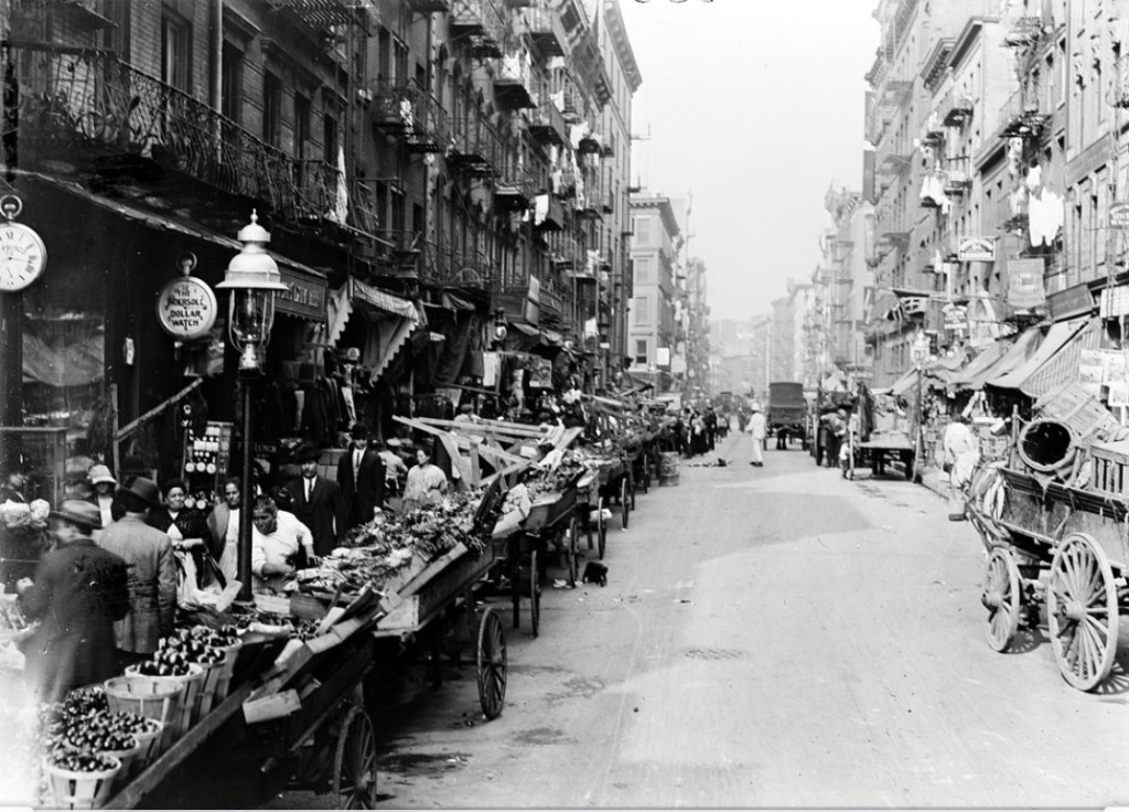 Pushcarts were a common sight in Little Italy, not only along Mulberry Street, but throughout the entire area. Many an immigrant eked out a living by pushing the their cart all day long hawking his wares, whether it be fruit and vegetables, clothes, or whatever else he could buy and sell.