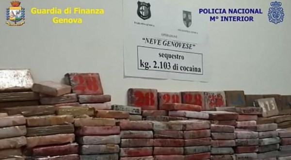 Intercepted in Northern Italy, a 4,626 lb. load of pure cocaine