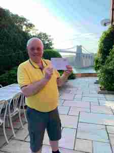 Graham Arrowsmith with a 60th Birthday Card from Kevin Appleby