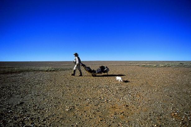 Jon Muir dragging a desert cart