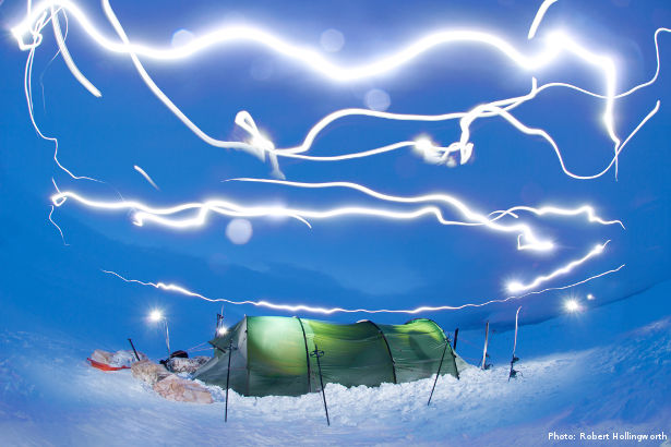 Illuminated tent in Norway (Photo: Robert Hollingworth)