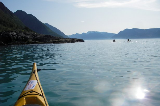Sea kayaking off the Loppa Peninsula, Norway