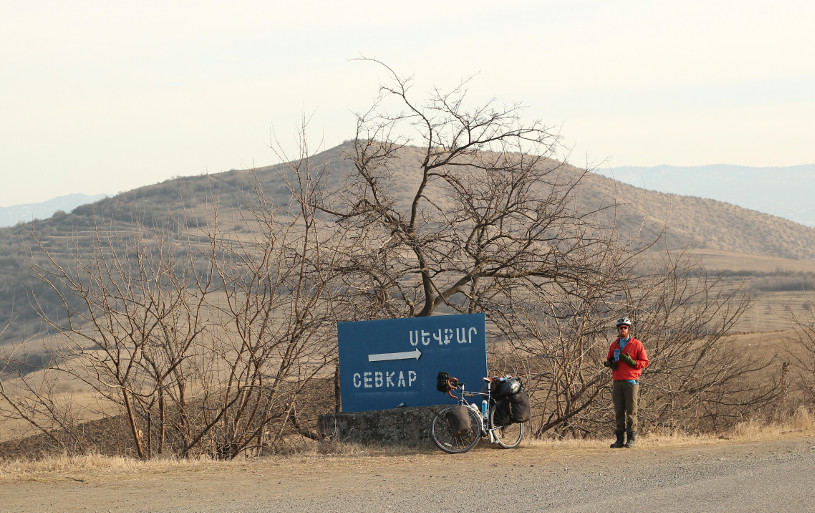 A bleak winter's day, cycling in Armenia