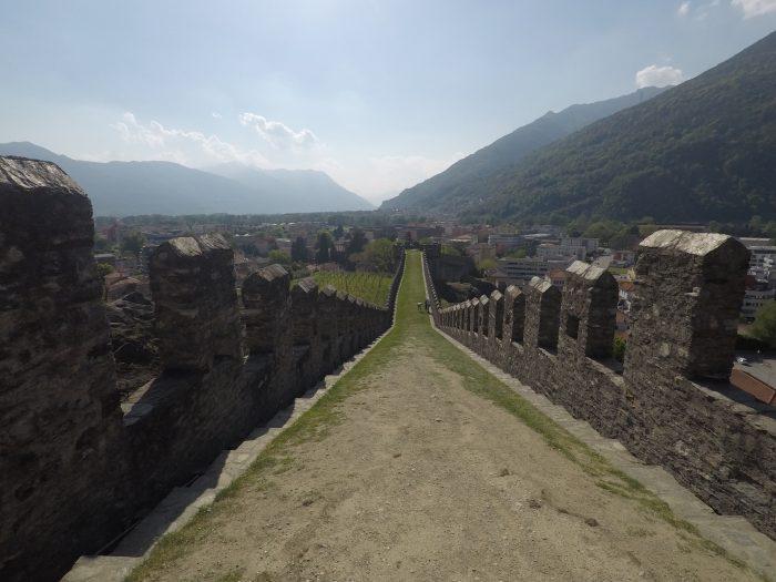 Muralla del castillo de Sasso Corbaro en Bellinzona