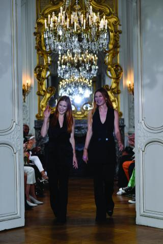 "PARIS, FRANCE - SEPTEMBER 27: Fashion designers Johanna Kuehl and Alexandra Roehler acknowledge the audience during the Kaviar Gauche""10 Years Bridal Couture"" Paris Fashion Week SS20 show as part of Paris Fashion Week on September 27, 2019 in Paris, France. (Photo by Kristy Sparow/Getyty Images for Kaviar Gauche)"