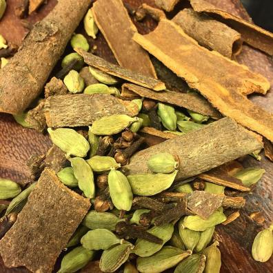 Dried ingredients for homemade masala chai tea blend