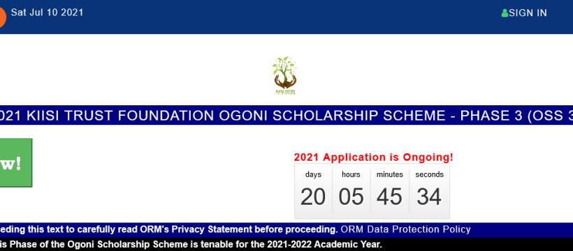 2021 KIISI TRUST FOUNDATION OGONI SCHOLARSHIP SCHEME - PHASE 3 (OSS 3)
