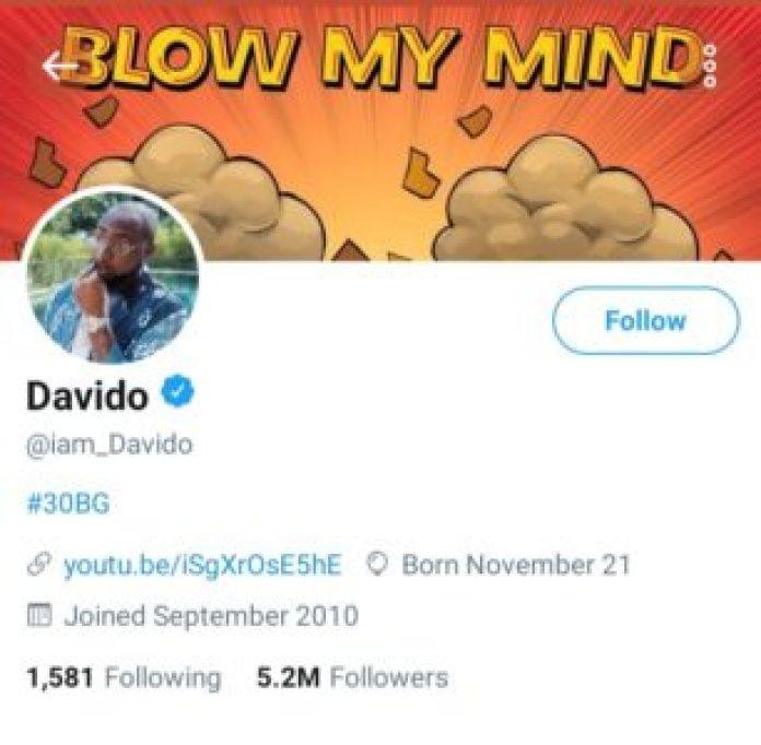 Davido is the most followed Nigerian Celebrity on Twitter