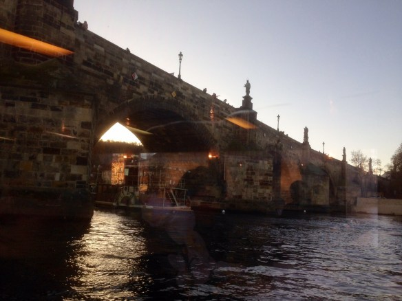 Prague is also a city of bridges, and the most famous is the Charles Bridge. We were able to get a little more unorthodox view from river level, even though the photo had to be shot through the dirty glass of the tour boat. I like the light, though.