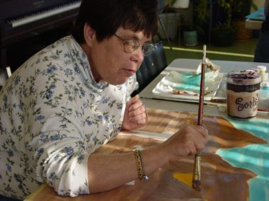 Leona Clawson in the painting studio