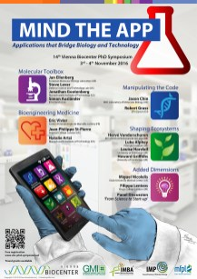 Basic research gives rise to many 'applications'. Poster of the 'Mind the App' VBC PhD Symposium at the Vienna Biocenter.