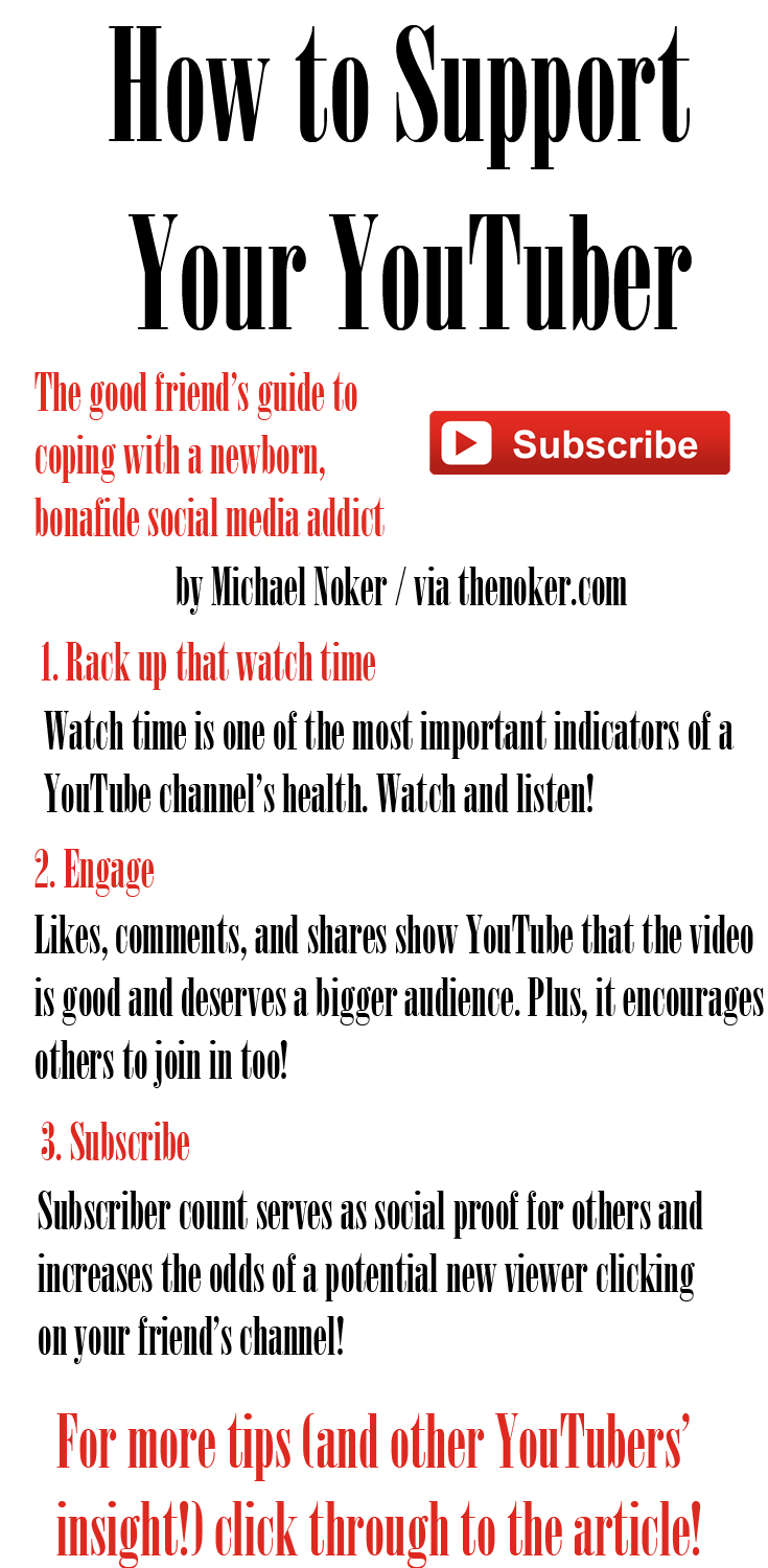 How to Support Your YouTuber: The good friend's guide to helping a social media-addicted friend to get his or her channel up and running (and hitting a million!) in no time.