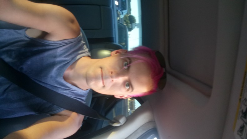 Michael Noker, the stylish, YouTuber of a boy with pink hair.