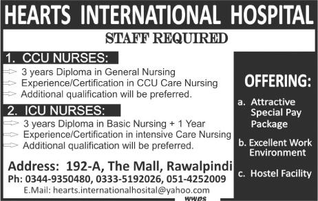 Heart International Hospital Nursing Jobs in Rawalpindi 2016 Download Application Form Eligibility Criteria
