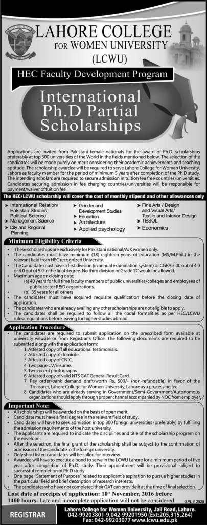 Lahore College for Women University LCWU PhD Scholarships 2016 HEC Faculty Development Program