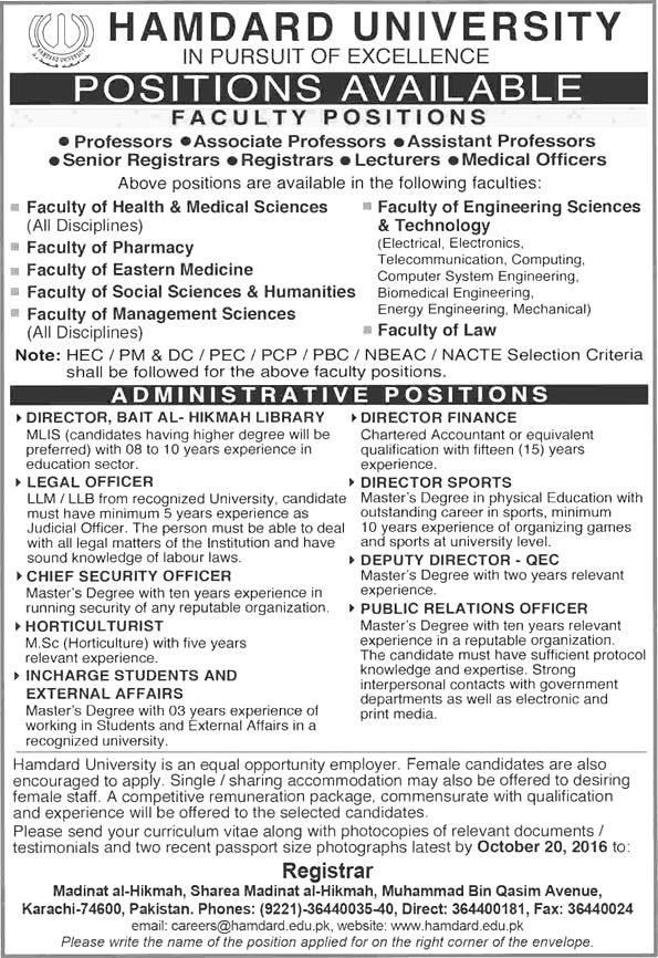 Hamdard University Karachi Jobs 2016 Application Form Experience Interview Dates