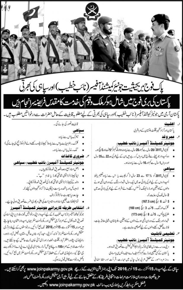 Join Pakistan Army as Sipahi 2021 Jobs Soldiers, Clerks, Cooks Eligibility Criteria Last Date Online Registration