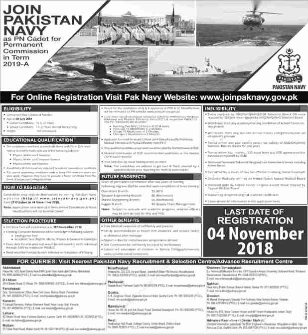Join Pakistan Navy Jobs 2018 As A PN Cadet Online Registration for Permanent Commission in Term 2019-A Terms and Condition Eligibility Criteria