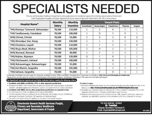 Primary & Secondary Healthcare Department Specialist Doctor Jobs in Punjab 2021 Apply Online Applying Procedure Terms and Condition