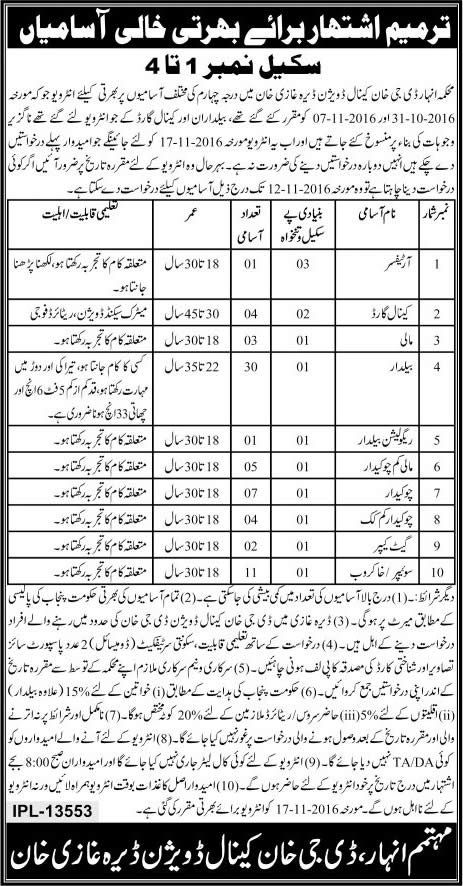 Irrigation Department Dera Ghazi Khan Jobs 2016 Artificer Canal Guards Eligibility Criteria Procedure to Apply