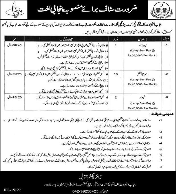 Punjab Government Institute of Language Art and Culture Lahore Jobs 2016 Supervisors Researchers Eligibility Criteria Last Date