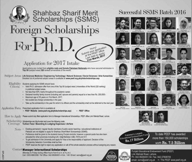 SSMS Shahbaz Sharif Merit Scholarship 2021 Foreign PhD Scholarships Application Form Eligibility Criteria Procedure to Apply