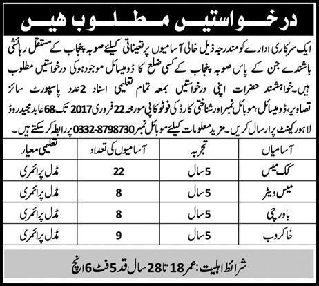Government Organization Jobs 2021 Mess Waiters Download Form Applying Procedure Terms and Conditions