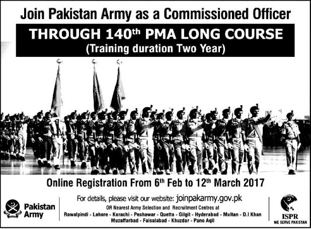 Pakistan Army Commissioned Officer Jobs 2017 140 PMA Long Course Last Date Apply Online