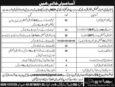 Stark Solutions Pvt Ltd Pakistan Jobs 2021 Eligibility Criteria Required Experience Electrical Mechanical Supervisors Generator Operators