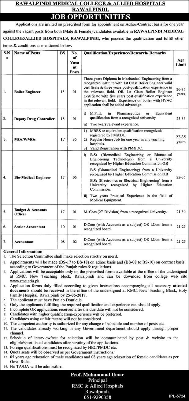 Rawalpindi Medical College and Allied Hospital Jobs 2017 Vacancies Available Last Date of Application Form Submission