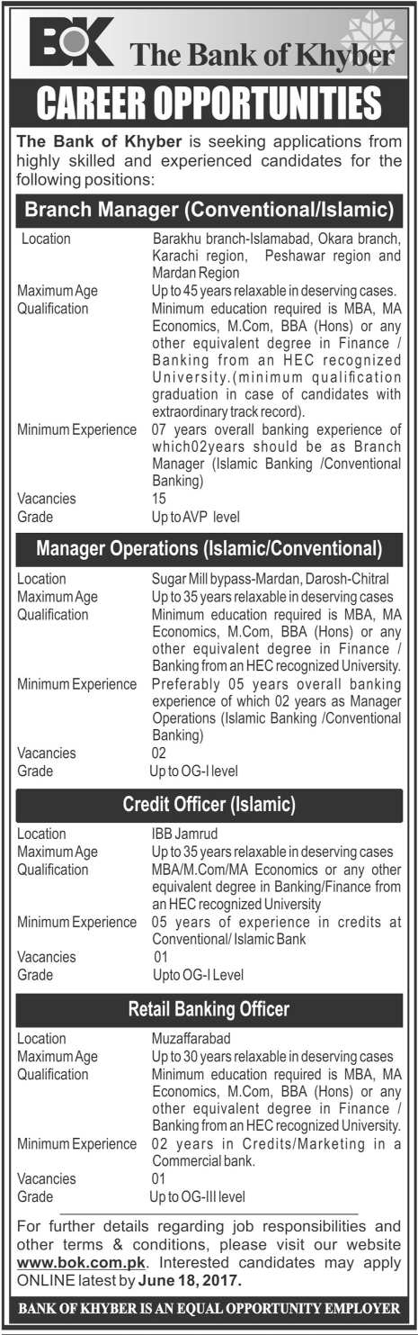 The Bank Of Khyber BOK Govt Jobs 2017 Written Test Application Form Submission Within Due Dates