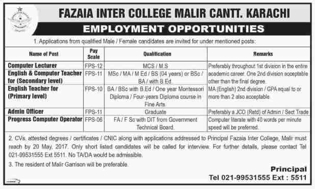 Fazaia Inter College Malir Cantt Karachi Jobs 2017 Application Form Test Interview Dates