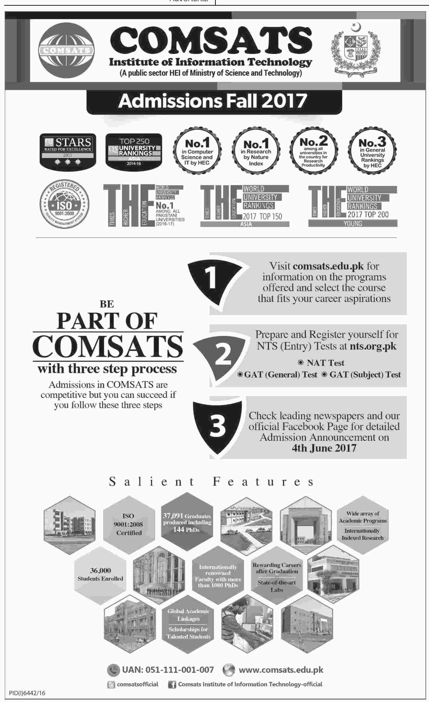 CIIT Comsats Institute Of Information Technology Admission