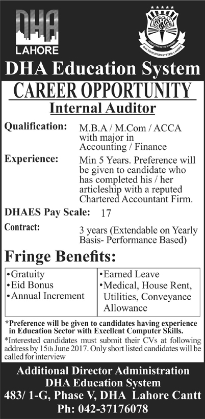 DHA Education System Lahore Jobs 2017 Application Form How To Apply Last Date Test Procedure