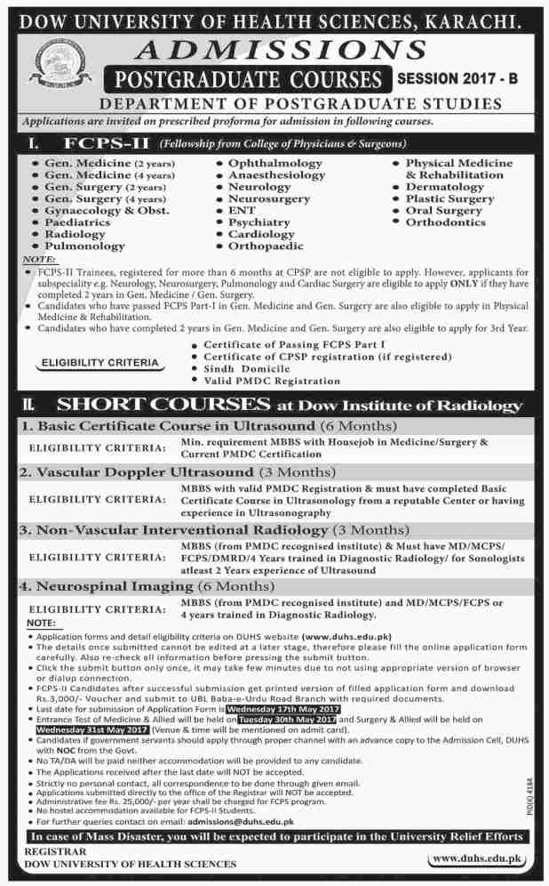 DOW University of Health Science Karachi Fellowship Admission 2017 in Post Graduate Courses Programs Application Form Eligibility Criteria