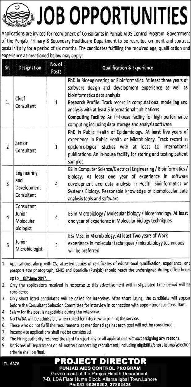 Punjab AIDS Control Program Govt Job 2021 Primary & Secondary Healthcare Department Eligibility Criteria Last Date