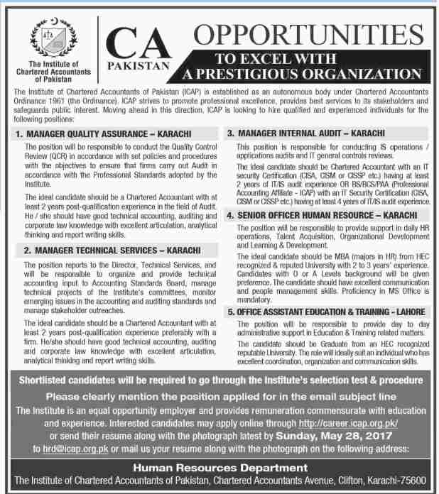 The Institute of Chartered Accountant of Pakistan ICAP House Karachi and Lahore Jobs 2017 Application Form Download