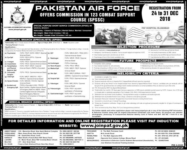Join Pakistan Air Force SPSSC 2018 Online Registration Schedule Eligibility Criteria