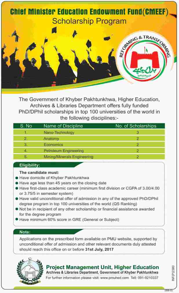 CMEEF Chief Minister Endowment Fund KPK PMU Scheme 2017 Application Form Download Eligibility Criteria